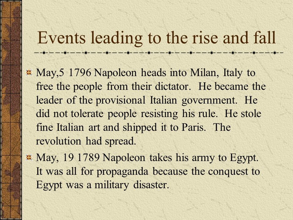 Events leading to the rise and fall May,5 1796 Napoleon heads into Milan, Italy to free the people from their dictator.