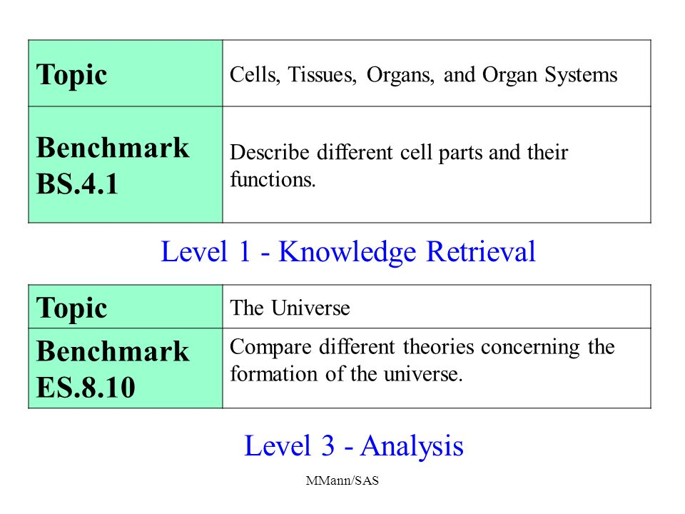 MMann/SAS Topic The Universe Benchmark ES.8.10 Compare different theories concerning the formation of the universe. Topic Cells, Tissues, Organs, and