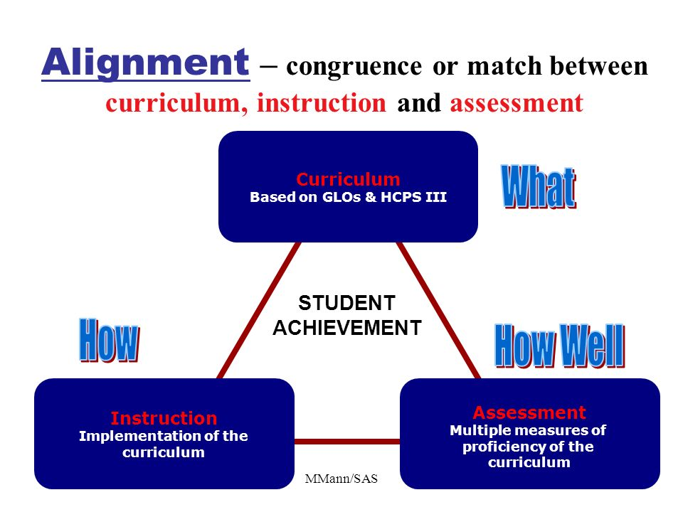 MMann/SAS Alignment – congruence or match between curriculum, instruction and assessment Curriculum Based on GLOs & HCPS III Instruction Implementatio