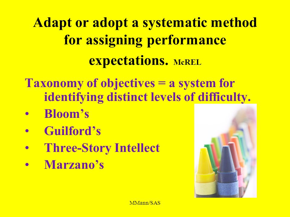 MMann/SAS Adapt or adopt a systematic method for assigning performance expectations. McREL Taxonomy of objectives = a system for identifying distinct