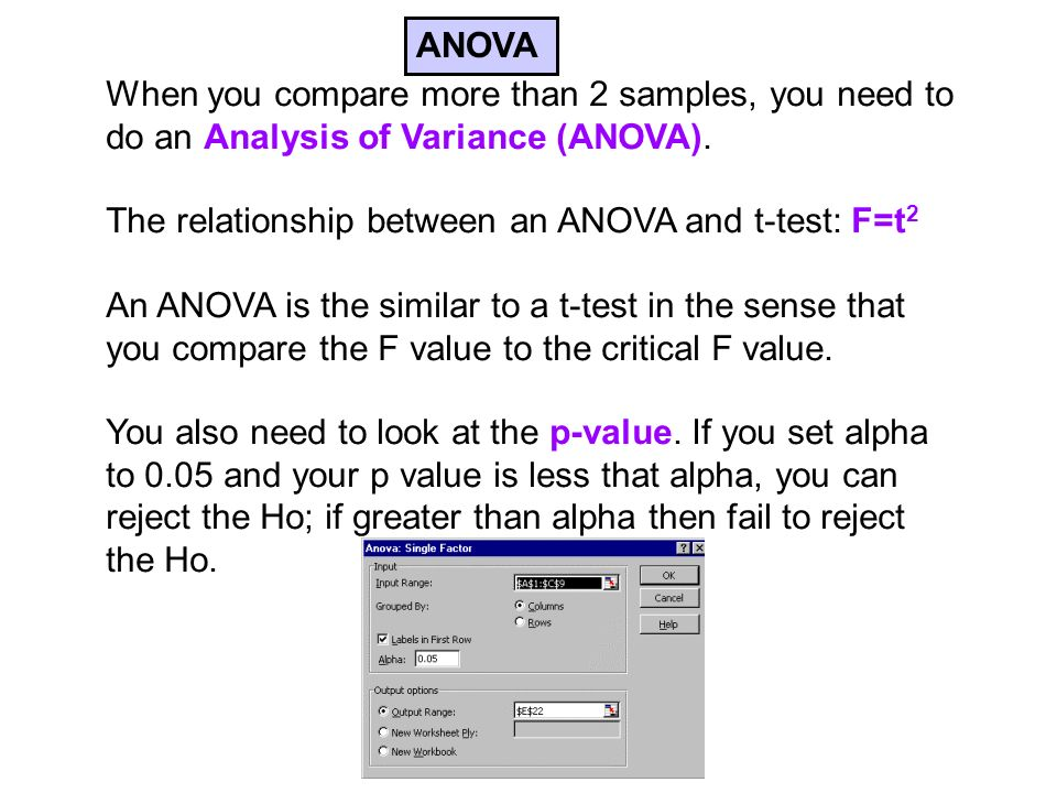 When you compare more than 2 samples, you need to do an Analysis of Variance (ANOVA).