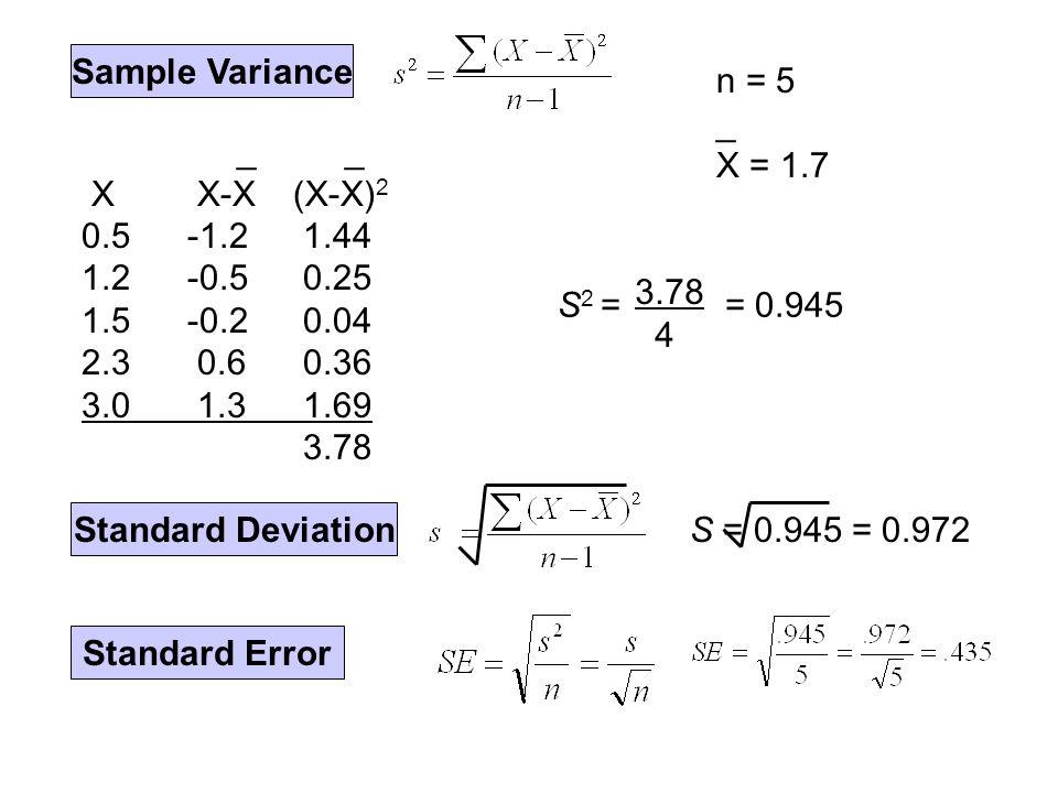 Sample Variance _ _ X X-X(X-X) 2 0.5-1.2 1.44 1.2-0.5 0.25 1.5-0.2 0.04 2.3 0.6 0.36 3.0 1.3 1.69 3.78 n = 5 _ X = 1.7 3.78 4 S 2 == 0.945 Standard Deviation S = 0.945 = 0.972 Standard Error