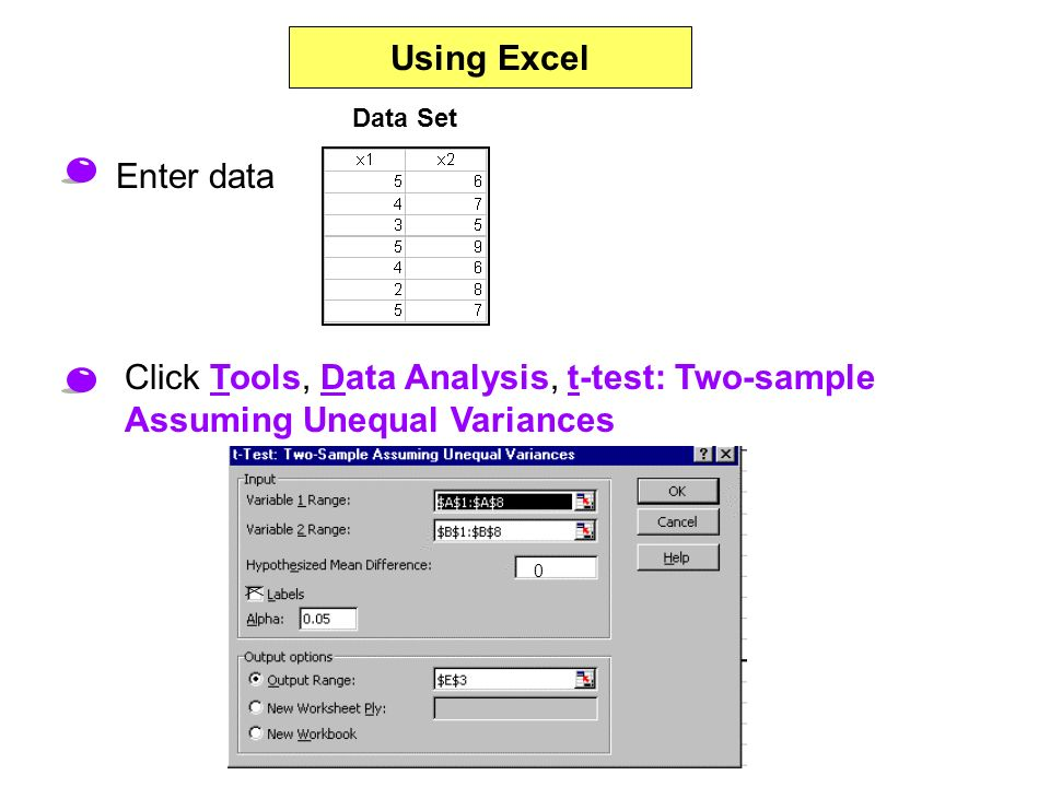 Using Excel Click Tools, Data Analysis, t-test: Two-sample Assuming Unequal Variances Enter data Data Set 0