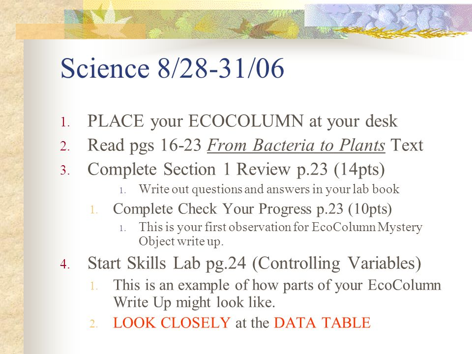 Science 8/28-31/06 1. PLACE your ECOCOLUMN at your desk 2.