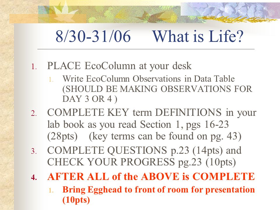 8/30-31/06 What is Life. 1. PLACE EcoColumn at your desk 1.