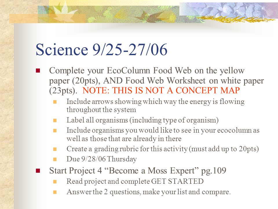 Science 9/25-27/06 Complete your EcoColumn Food Web on the yellow paper (20pts), AND Food Web Worksheet on white paper (23pts).