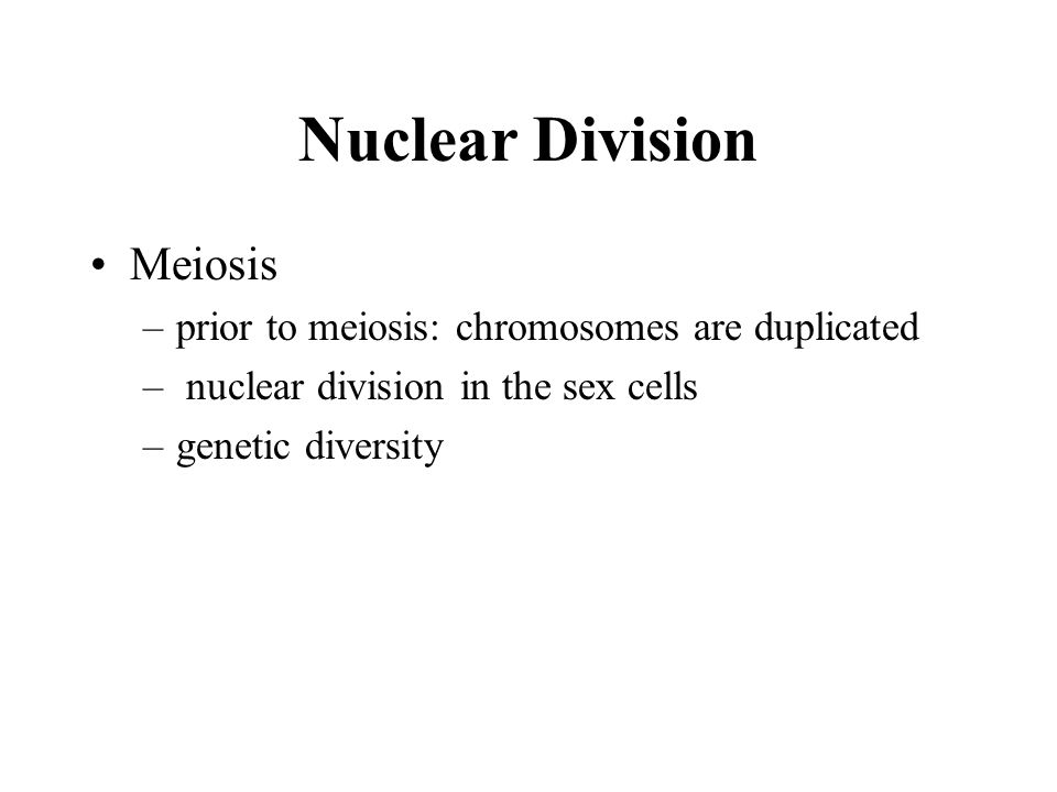 Nuclear Division Meiosis –prior to meiosis: chromosomes are duplicated – nuclear division in the sex cells –genetic diversity