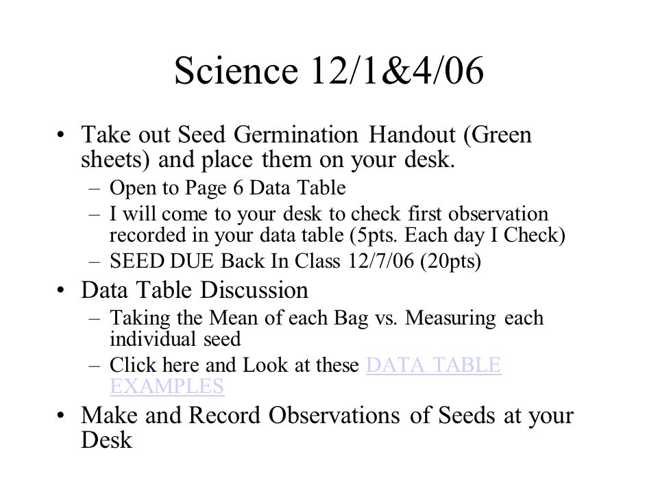 Science 12/1&4/06 Take out Seed Germination Handout (Green sheets) and place them on your desk.