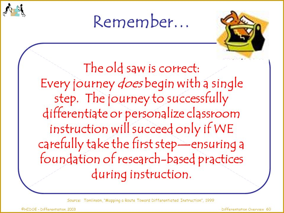 ©HIDOE - Differentiation, 2003Differentiation Overview The old saw is correct: Every journey does begin with a single step.