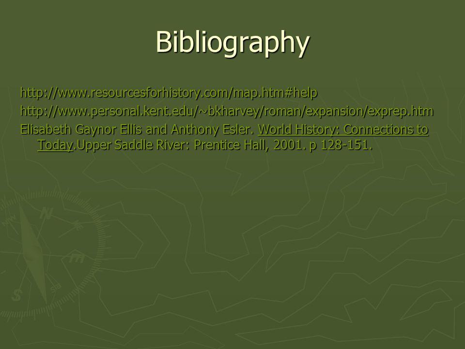 Bibliography http://www.resourcesforhistory.com/map.htm#helphttp://www.personal.kent.edu/~bkharvey/roman/expansion/exprep.htm Elisabeth Gaynor Ellis a