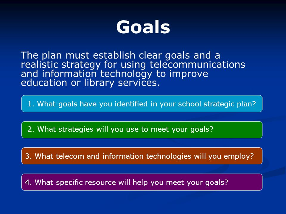 Goals 1. What goals have you identified in your school strategic plan.