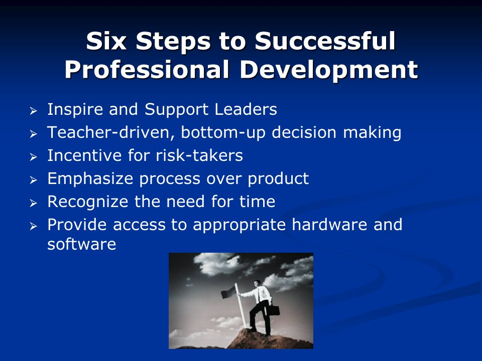 Six Steps to Successful Professional Development Inspire and Support Leaders Teacher-driven, bottom-up decision making Incentive for risk-takers Emphasize process over product Recognize the need for time Provide access to appropriate hardware and software