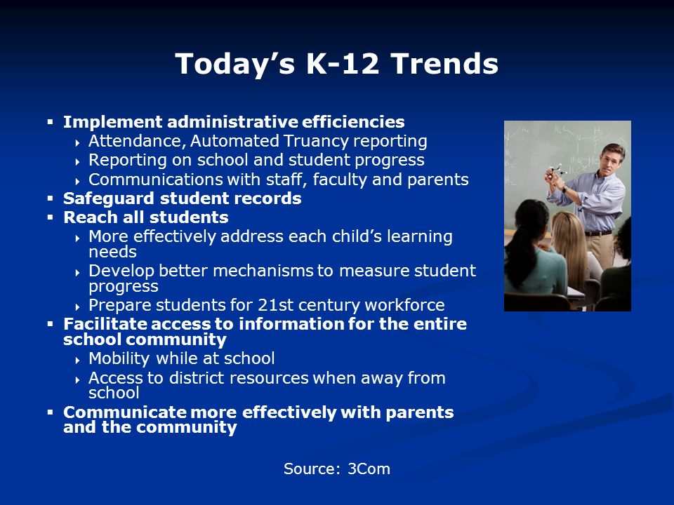 Todays K-12 Trends Implement administrative efficiencies Attendance, Automated Truancy reporting Reporting on school and student progress Communications with staff, faculty and parents Safeguard student records Reach all students More effectively address each childs learning needs Develop better mechanisms to measure student progress Prepare students for 21st century workforce Facilitate access to information for the entire school community Mobility while at school Access to district resources when away from school Communicate more effectively with parents and the community Source: 3Com