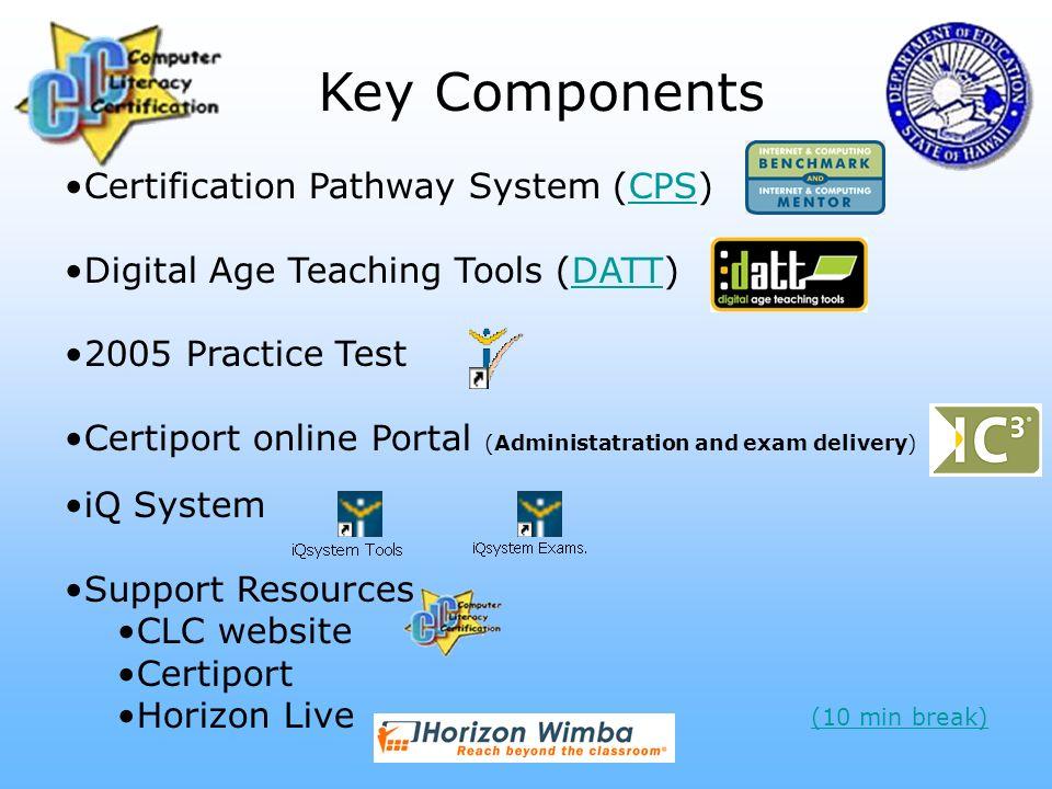 Key Components Certification Pathway System (CPS)CPS Digital Age Teaching Tools (DATT)DATT 2005 Practice Test Certiport online Portal (Administatratio