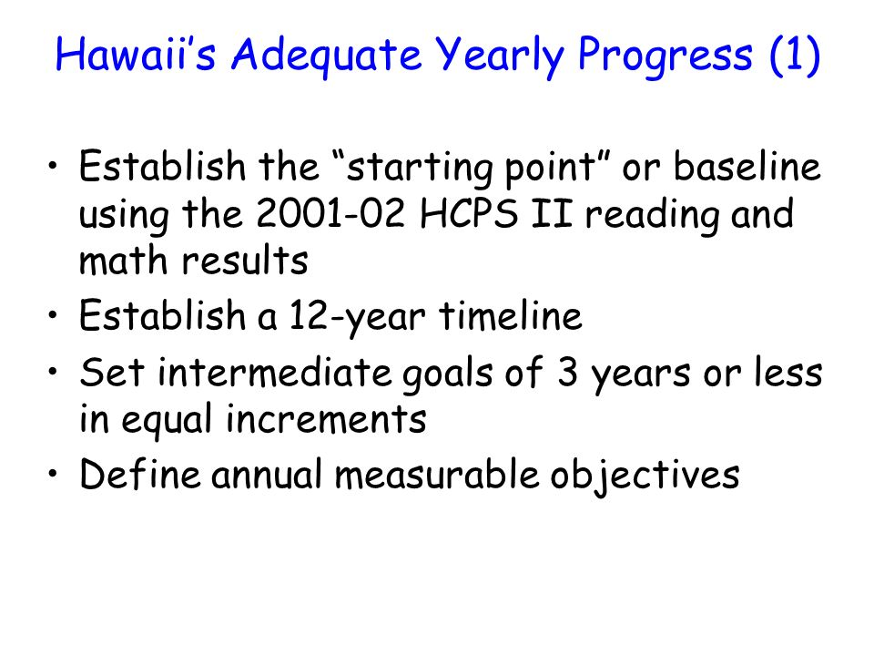 Hawaiis Adequate Yearly Progress (1) Establish the starting point or baseline using the 2001-02 HCPS II reading and math results Establish a 12-year timeline Set intermediate goals of 3 years or less in equal increments Define annual measurable objectives