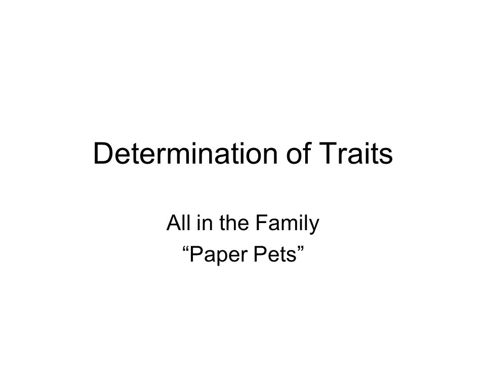 Determination of Traits All in the Family Paper Pets