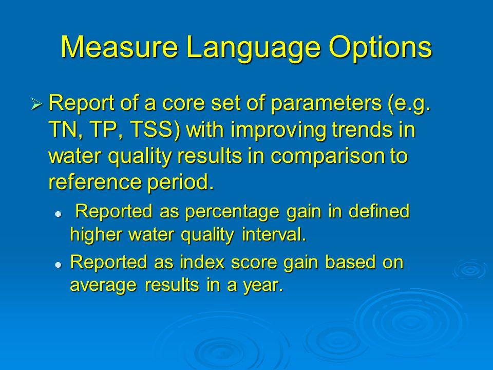 Measure Language Options Report of a core set of parameters (e.g.