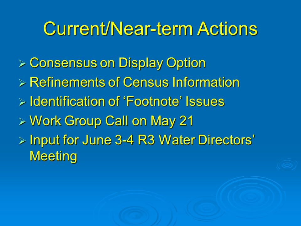 Current/Near-term Actions Consensus on Display Option Consensus on Display Option Refinements of Census Information Refinements of Census Information Identification of Footnote Issues Identification of Footnote Issues Work Group Call on May 21 Work Group Call on May 21 Input for June 3-4 R3 Water Directors Meeting Input for June 3-4 R3 Water Directors Meeting