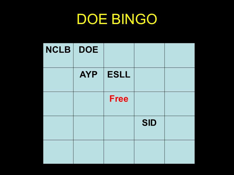 DOE BINGO NCLBDOE AYPESLL Free SID
