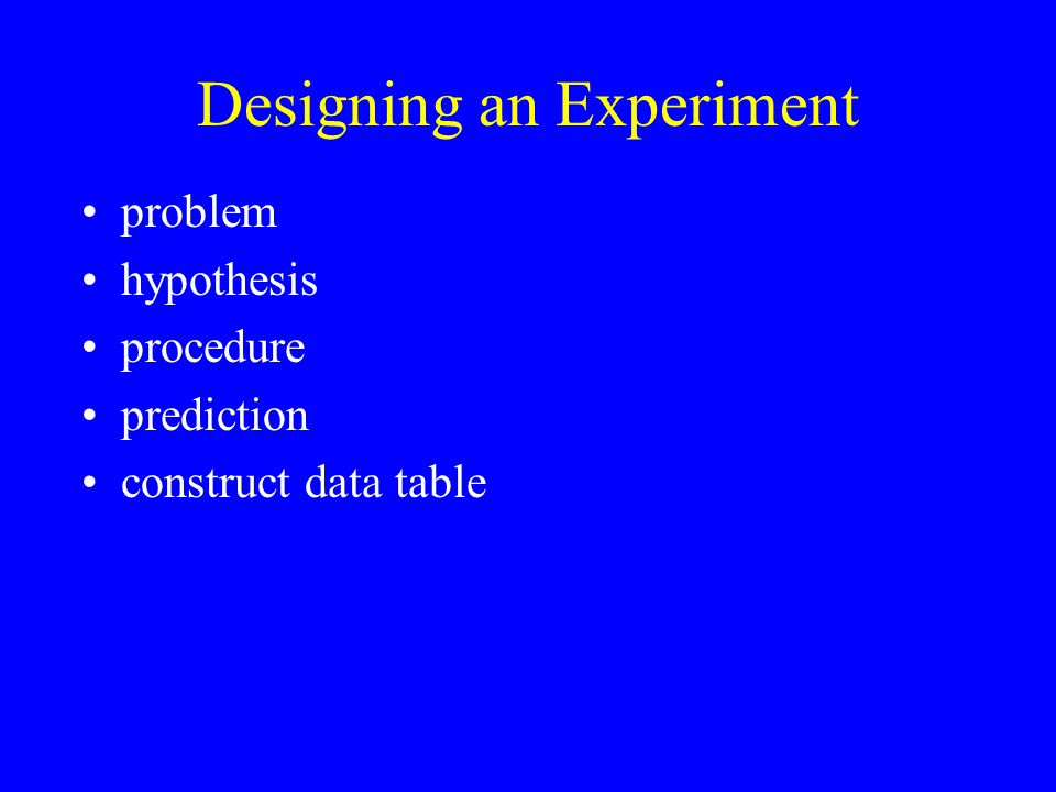 Designing an Experiment problem hypothesis procedure prediction construct data table