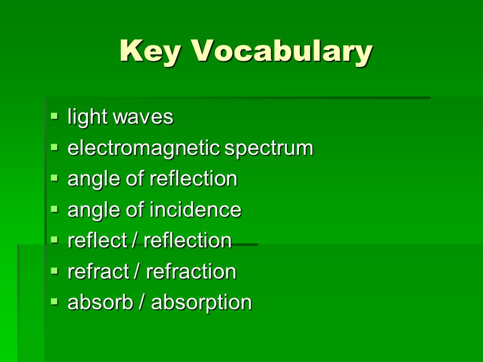Key Vocabulary light waves light waves electromagnetic spectrum electromagnetic spectrum angle of reflection angle of reflection angle of incidence an