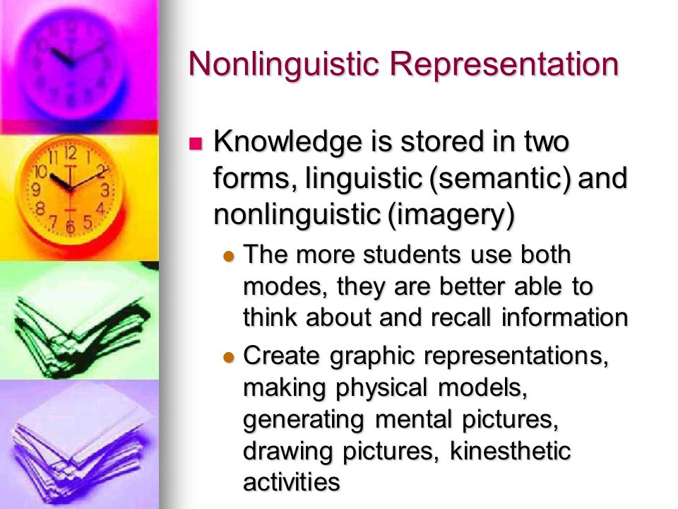 Nonlinguistic Representation Knowledge is stored in two forms, linguistic (semantic) and nonlinguistic (imagery) Knowledge is stored in two forms, lin