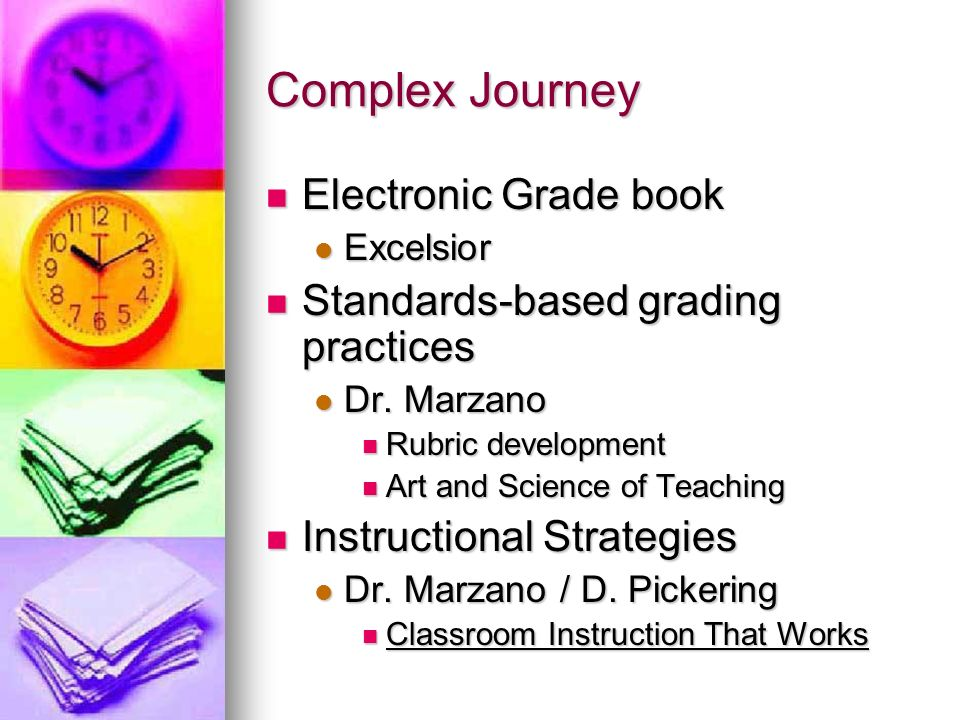 Complex Journey Electronic Grade book Electronic Grade book Excelsior Excelsior Standards-based grading practices Standards-based grading practices Dr.