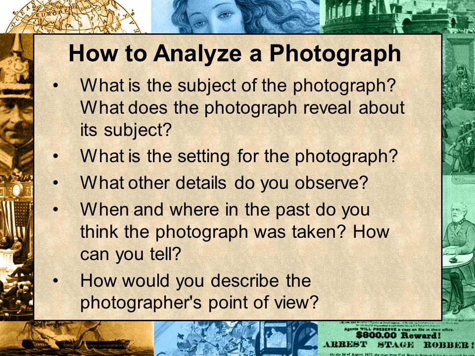 What is the subject of the photograph? What does the photograph reveal about its subject? What is the setting for the photograph? What other details d