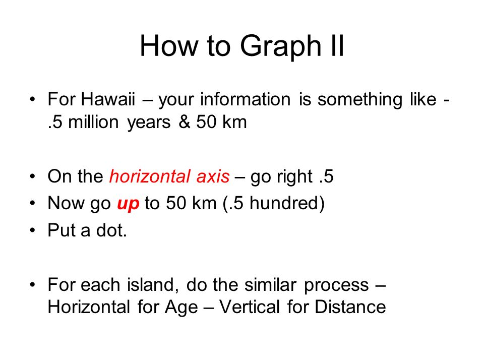 How to Graph II For Hawaii – your information is something like -.5 million years & 50 km On the horizontal axis – go right.5 Now go up to 50 km (.5 hundred) Put a dot.