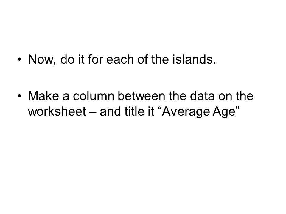 The Data OldestYoungest MY Hawaii10 Maui1.30.4 Molokai1.81.3 Oahu3.31.9 Kauai5.64.5
