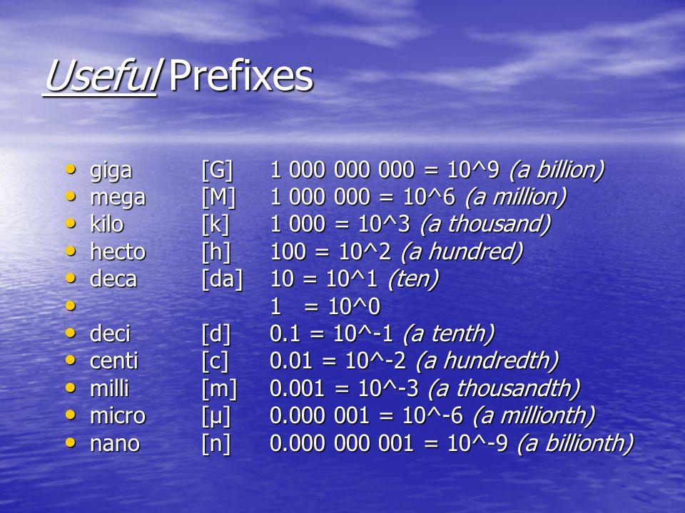 Useful Prefixes giga [G] 1 000 000 000 = 10^9 (a billion) giga [G] 1 000 000 000 = 10^9 (a billion) mega [M] 1 000 000 = 10^6 (a million) mega [M] 1 0