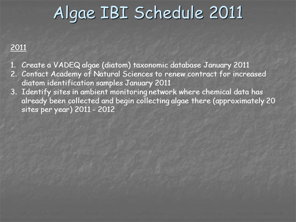 Algae IBI Schedule 2011 2011 1.Create a VADEQ algae (diatom) taxonomic database January 2011 2.Contact Academy of Natural Sciences to renew contract for increased diatom identification samples January 2011 3.Identify sites in ambient monitoring network where chemical data has already been collected and begin collecting algae there (approximately 20 sites per year) 2011 - 2012