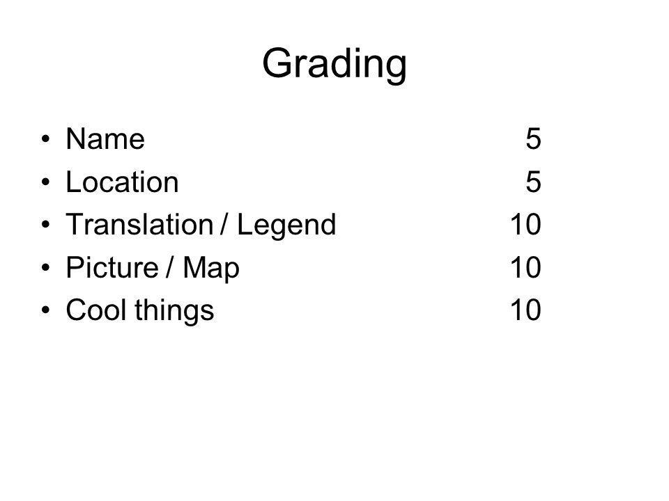 Grading Name 5 Location 5 Translation / Legend10 Picture / Map10 Cool things10