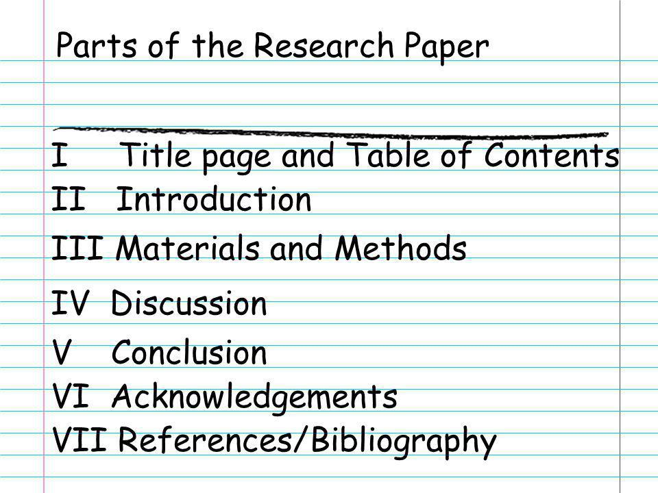 Parts of the Research Paper I Title page and Table of Contents II Introduction III Materials and Methods IV Discussion V Conclusion VI Acknowledgement