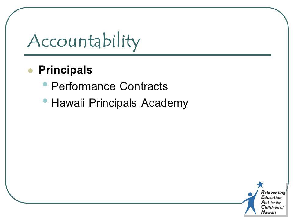 Accountability Principals Performance Contracts Hawaii Principals Academy