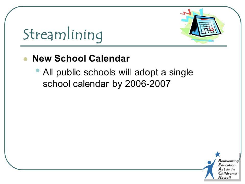 Streamlining New School Calendar All public schools will adopt a single school calendar by 2006-2007