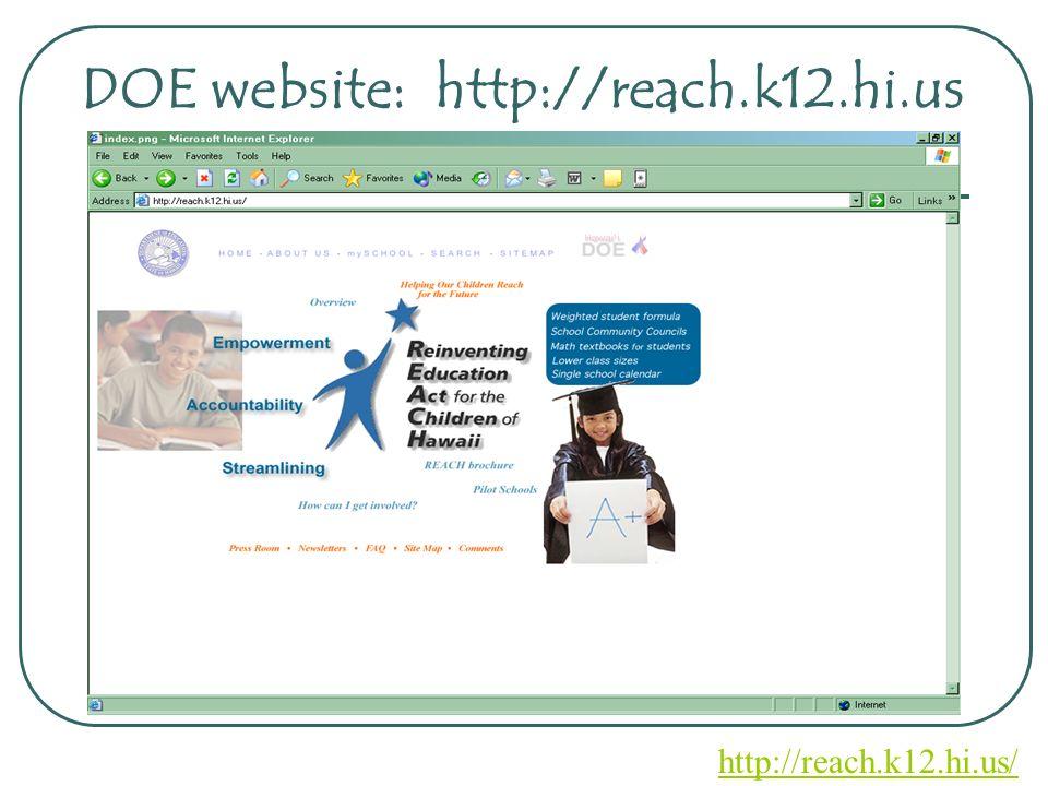 DOE website: http://reach.k12.hi.us http://reach.k12.hi.us/