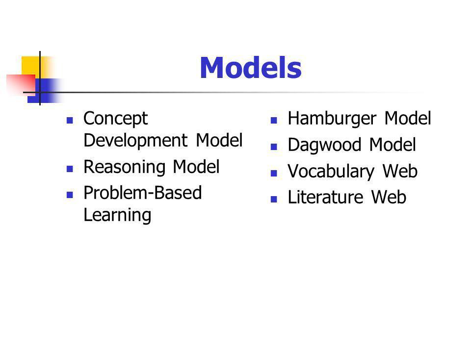 Models Concept Development Model Reasoning Model Problem-Based Learning Hamburger Model Dagwood Model Vocabulary Web Literature Web