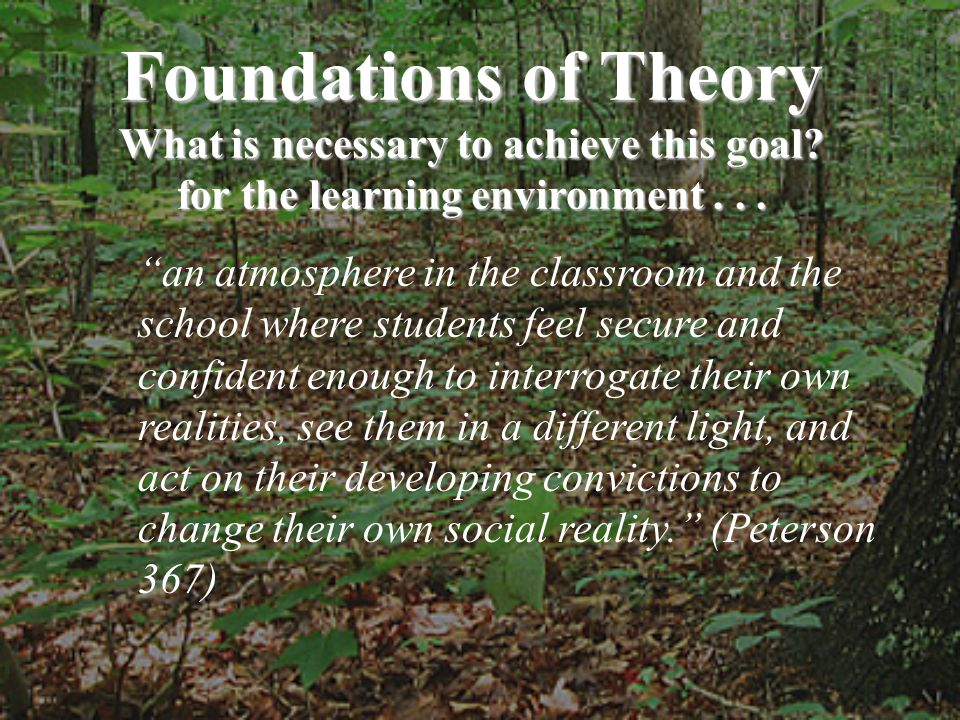 Foundations of Theory What is necessary to achieve this goal? for the learning environment... an atmosphere in the classroom and the school where stud