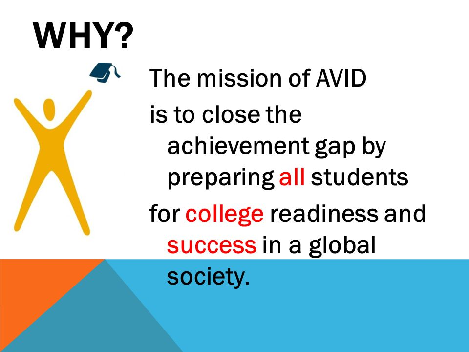WHY? The mission of AVID is to close the achievement gap by preparing all students for college readiness and success in a global society.