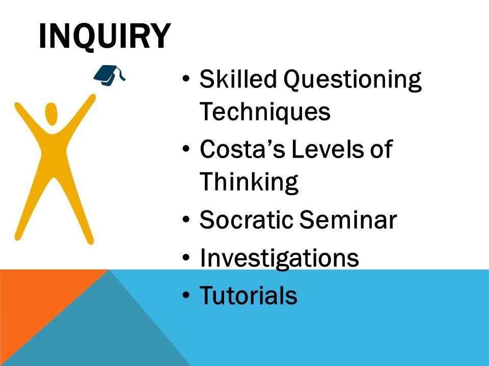 INQUIRY Skilled Questioning Techniques Costas Levels of Thinking Socratic Seminar Investigations Tutorials