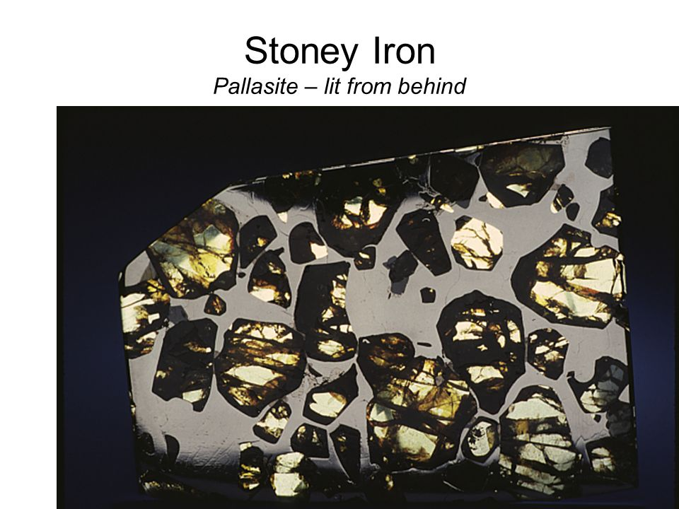 Stoney Iron Pallasite – lit from behind