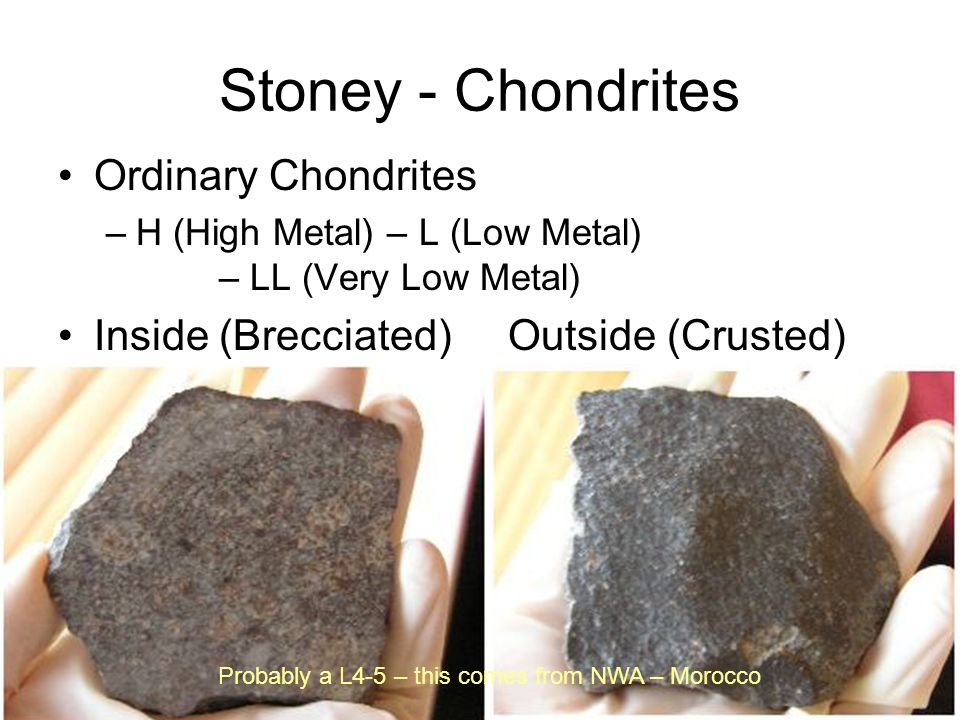 Stoney - Chondrites Ordinary Chondrites –H (High Metal) – L (Low Metal) – LL (Very Low Metal) Inside (Brecciated) Outside (Crusted) Probably a L4-5 –