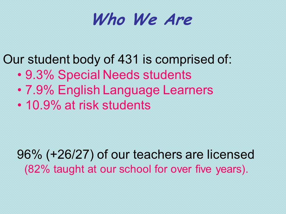 Who We Are Our student body of 431 is comprised of: 9.3% Special Needs students 7.9% English Language Learners 10.9% at risk students 96% (+26/27) of
