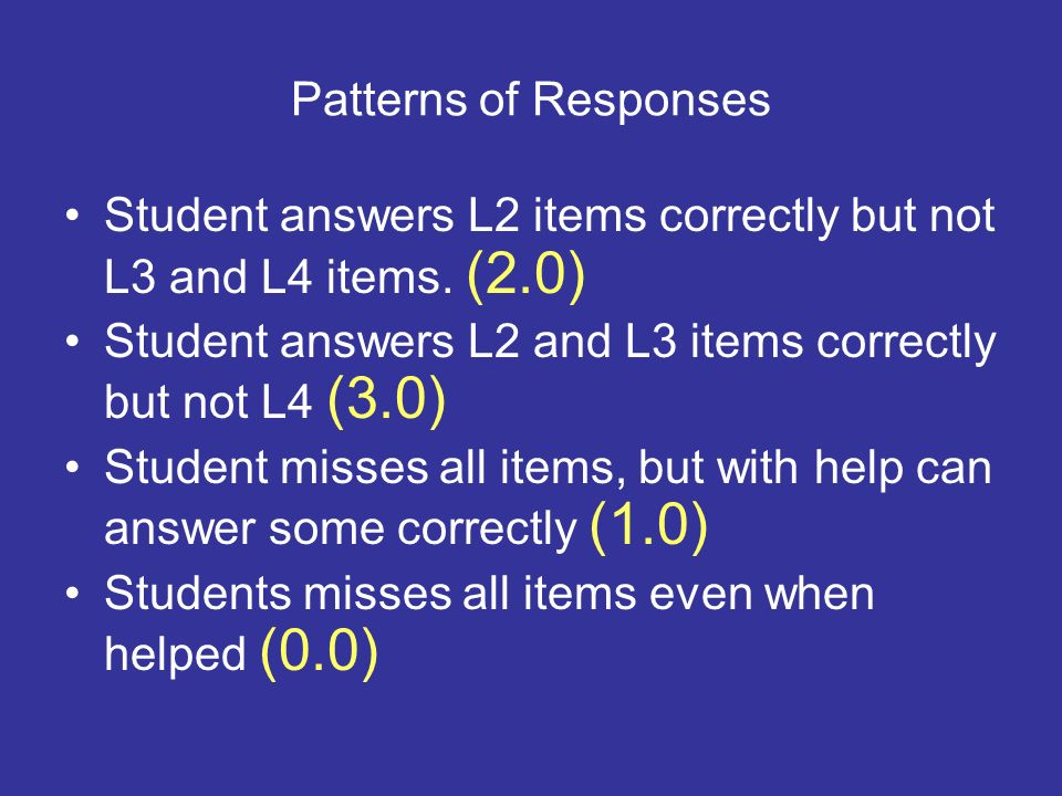 Patterns of Responses Student answers L2 items correctly but not L3 and L4 items. (2.0) Student answers L2 and L3 items correctly but not L4 (3.0) Stu
