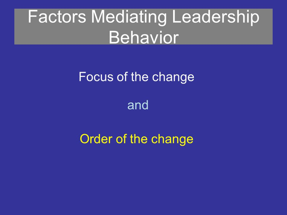 Factors Mediating Leadership Behavior Focus of the change and Order of the change