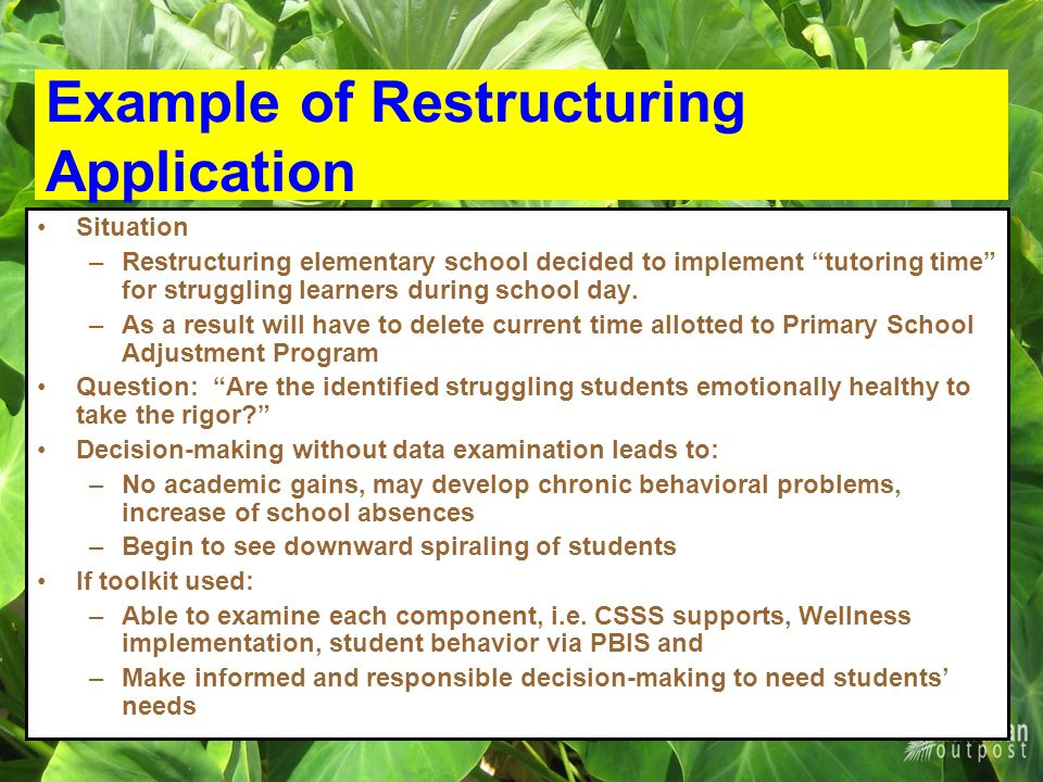 Example of Restructuring Application Situation –Restructuring elementary school decided to implement tutoring time for struggling learners during school day.