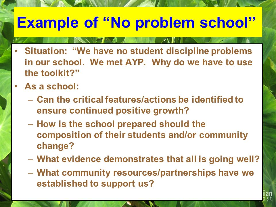 Example of No problem school Situation: We have no student discipline problems in our school.