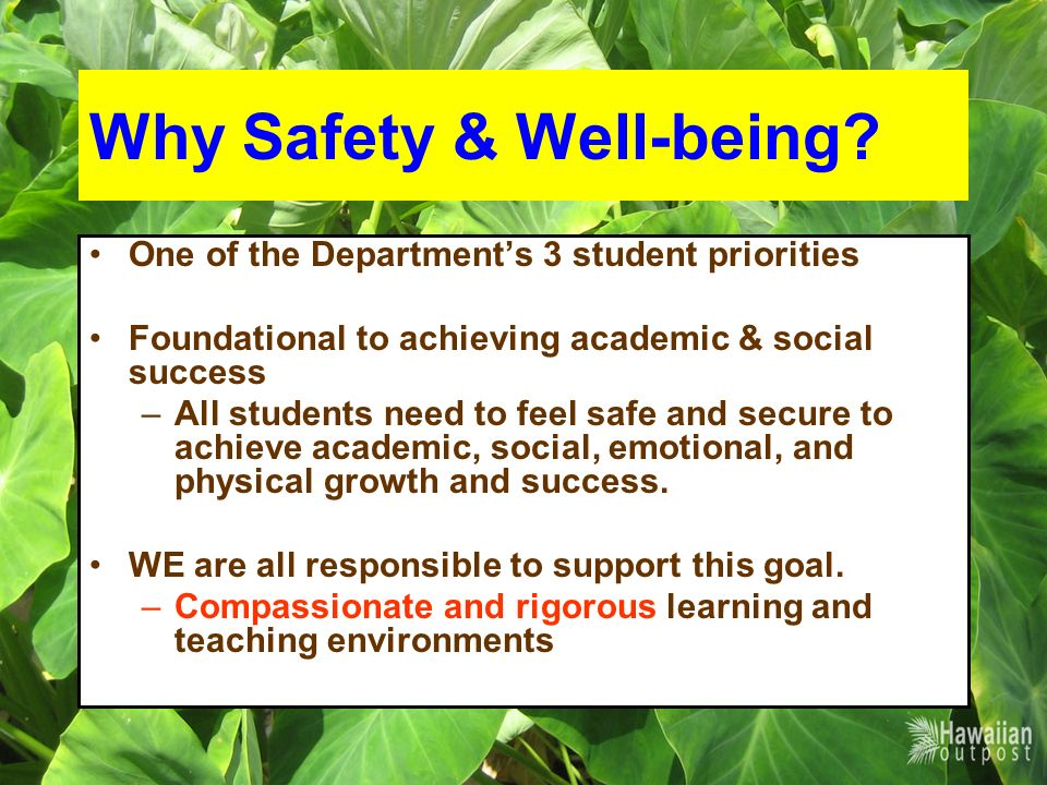 Why Safety & Well-being.