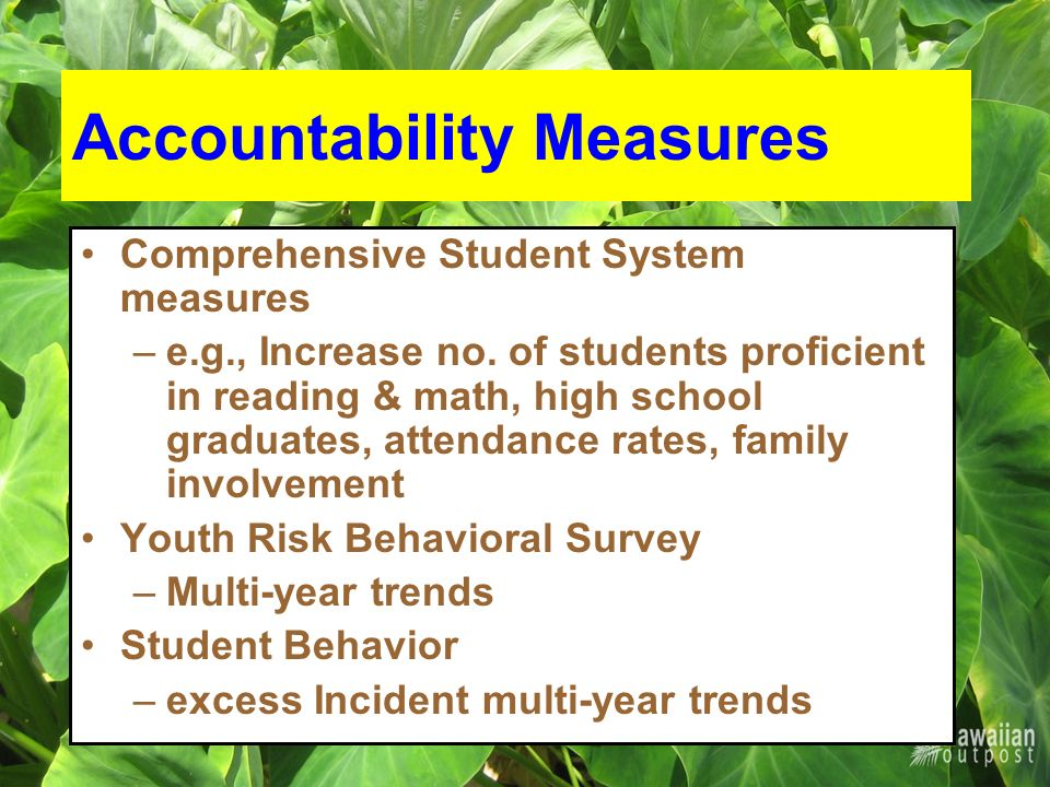 Accountability Measures Comprehensive Student System measures –e.g., Increase no.